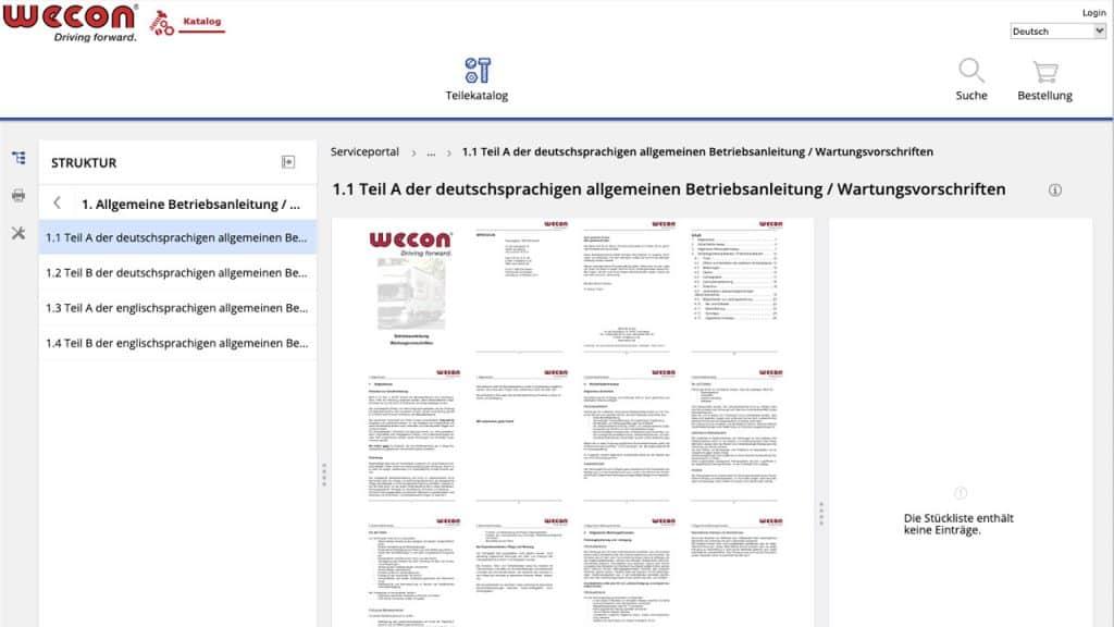 Screenshot service portal, repair and maintenance information